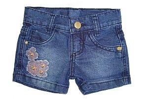 Shorts Jeans Flores Laranja