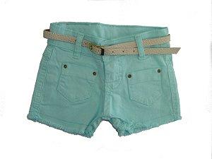 Shorts Sarja Color Bolsos Verde Água