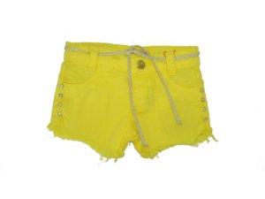 Shorts Slim Sarja Ondas Color Amarelo Vibrante