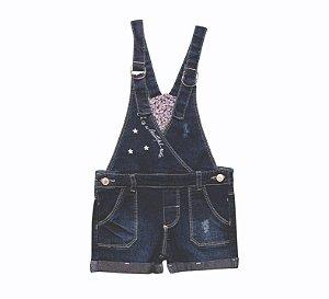 Jardineira Fem. Jeans Floral