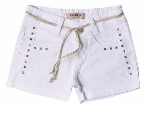 Shorts Slim Sarja Branco Square