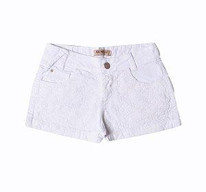 Shorts Slim Sarja Floral Bco