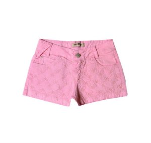 Shorts Slim Sarja Color Flores Rosa