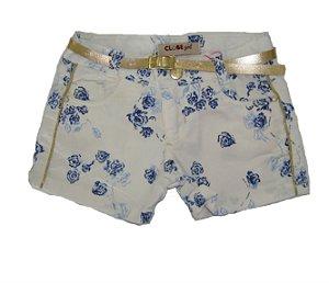 Shorts Slim Sarja Brilho Azul