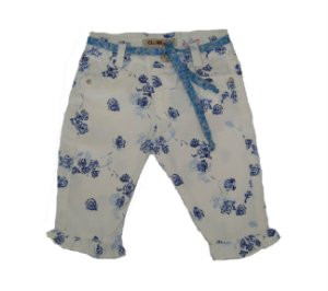 Calça Cropped Sarja Floral Azul