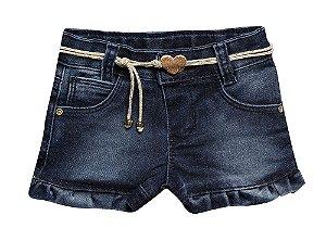 Shorts bebê feminino jeans babado p ao g clube do doce