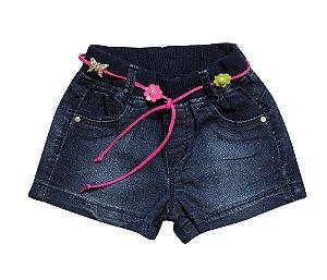 Shorts bebê feminino jogger jeans cinto p ao g clube do doce