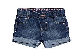 Shorts bebê feminino regular jeans flores p ao g clube do doce