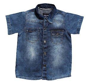 Camisa masculina jeans stoned com bordado 1 ao 3 clube do doce