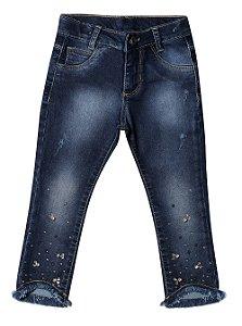 Calça feminina jeans cropped strass infantil 1 ao 3 clube do doce