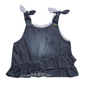 Blusa feminina jeans laço infantil 1ao 3 clube do doce