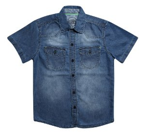 CAMISA MASCULINA JEANS TEEN STAMP 10 AO 16 CLUBE DO DOCE