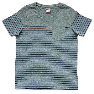Camiseta Listrada Cinza e Azul Tam 12