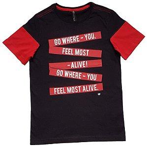 Camiseta Estampada Preta e Vermelha TAM 14
