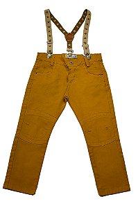 Calça masculina castor sarja slim suspensório infantil 1 ao 3 clube do doce