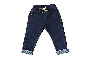Calça feminina jeans bebê blue heart p ao g clube do doce