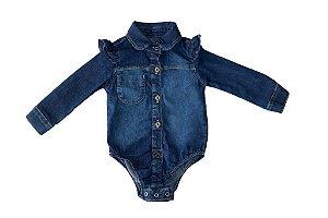Body feminino jeans bebê babados p ao g clube do doce