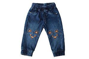 Calça masculina jeans bebê jogger urso joelho p ao g clube do doce