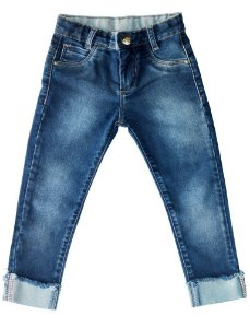 Calça feminina jeans infantil skinny strass 1 ao 3 clube do doce