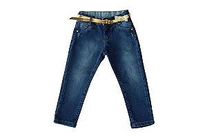 Calça feminina jeans infantil skinny 1 ao 3 clube do doce