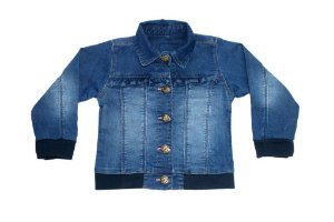 Jaqueta feminina jeans infantil babados 1 ao 3 clube do doce
