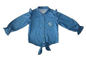 Camisa feminina infantil jeans laço 4 ao 8 clube do doce