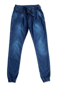 Calça feminina juvenil jeans jogger 10 ao 16 clube do doce