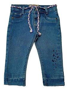 Calça feminina slim jeans p ao g borboletas clube do doce