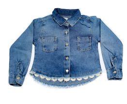 Camisa feminina infantil jeans renda 4 ao 8 clube do doce