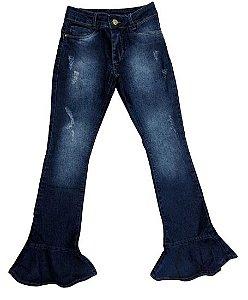 Calça feminina jeans flare 10 ao 16 clube do doce