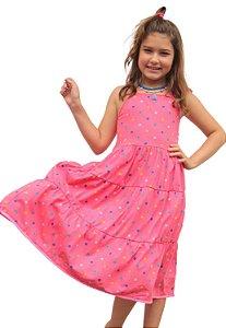 Vestido Rosa de Bolinhas com Alça de Amarrar