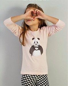 blusa manga longa panda
