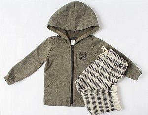 casaco moletom ziper verde