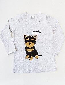 Camiseta Manga Longa Dog Mescla Unissex