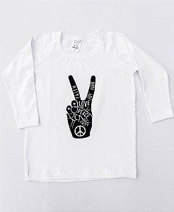 Camiseta Manga Longa Peace Love Branca Unissex