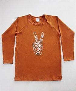 Camiseta Manga Longa Peace Love Unissex