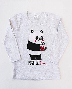 Camiseta Manga Longa Panda Positive Tea