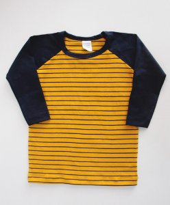 Camiseta Manga Longa Listras Mostarda