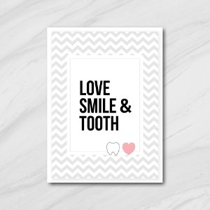Quadro Decorativo Love, Smile & Tooth
