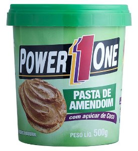 PASTA DE AMENDOIM COM AÇÚCAR DE COCO (500G) - POWER1ONE