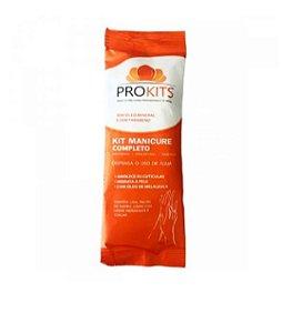 Kit Prokits Manicure completo: lixa; Palito de bambu; luvas com creme hidrante e toalha descartável
