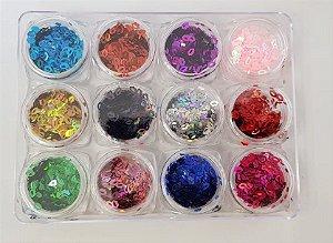 Gliter em formato de boca colorido - kit com 12 unidades