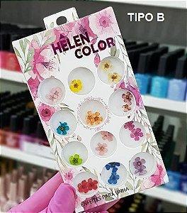Estojo de Flores Secas Hêlen Color (5 pétalas)