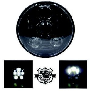 Farol LED - 5,75'' - VKNI00504 - Preto - (para Sportster, Dyna, Softail e V-Rod)