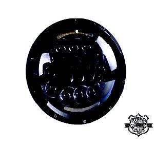 Farol LED - 7'' - Redondo - com setas integradas - Preto - (para linha Softail e Touring) - VRodKings