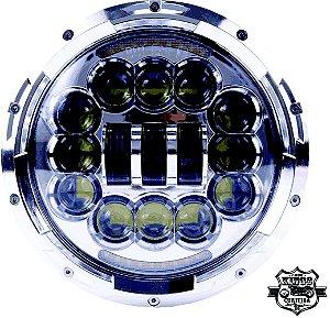 Farol LED - 7'' - Redondo - com setas integradas - Cromado - (para linha Softail e Touring)