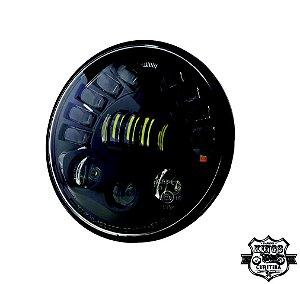 Farol LED - 7'' - Redondo -  com DRL e setas integradas - (para linha Softail e Touring) - VRodKings