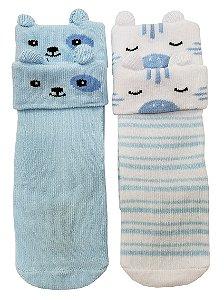 Meia Ludica Azul Bebê e Listrado 00 15
