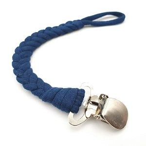 Prendedor de chupeta Trançado de Algodão Azul Marinho