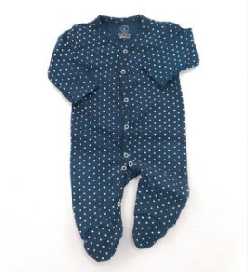 Macacão Pijama Azul Marinho Bolinha